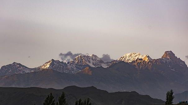 Sunset, Mountains, Gb, North, Pakistan, Skardu, Nikon