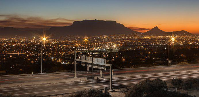 Mountain, Capetown, Traffic, Night, Sky, Travel