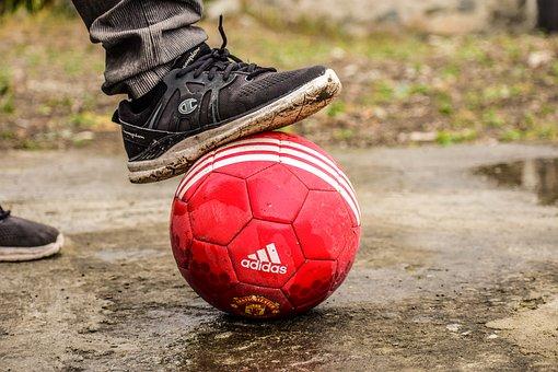 Soccer, Playing Football, Ball, Shoe On The Ball