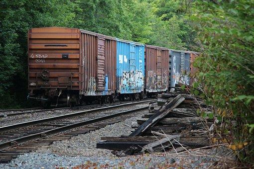 Boxcars, Railroad Tracks, Graffiti, Rural, Freight