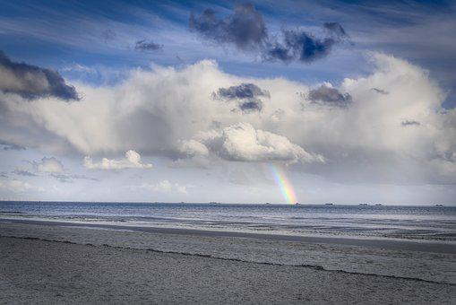 Clouds, Sky, Rainbow, Beach, Sea, Coast, North Sea