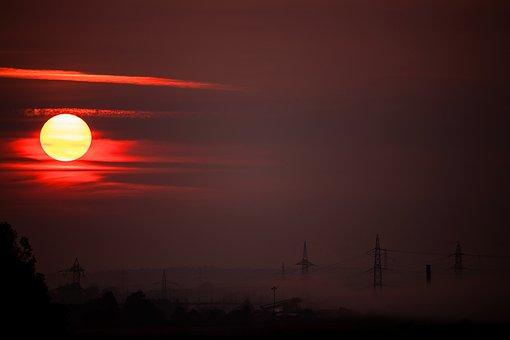 Sunrise, Nature, Red, Morning Mist, Haze, Power Poles