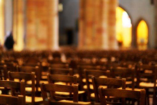 Church, Chairs, Benches, Bokeh, Orange, Warm, Blur