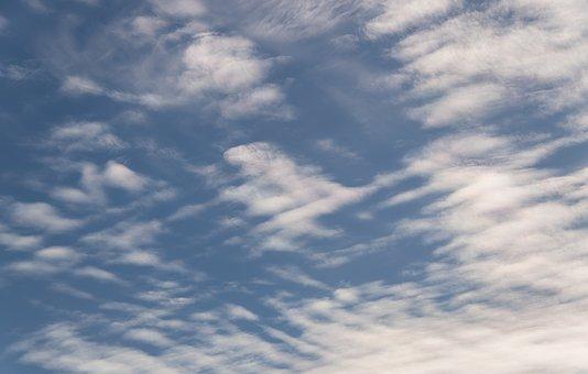 Clouds, White, Blue, Cloudscape, Delicate, Criss-cross