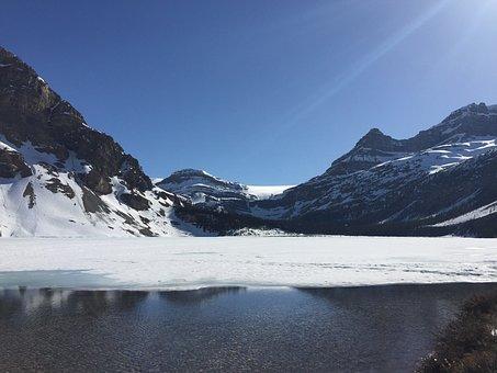 Bow Lake, Frozen Lake, Banff