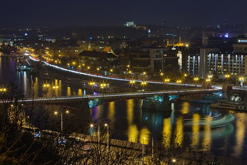 Prague, Night, Lights, Czech Republic, Europe, Bridge