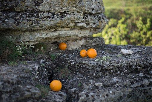 Oranges, Rock, Orange, Grey, Cleft, Fruit, Nature