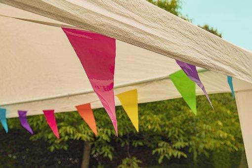 Party, Tent, Vlagjes, Colorful, Colors, Fun