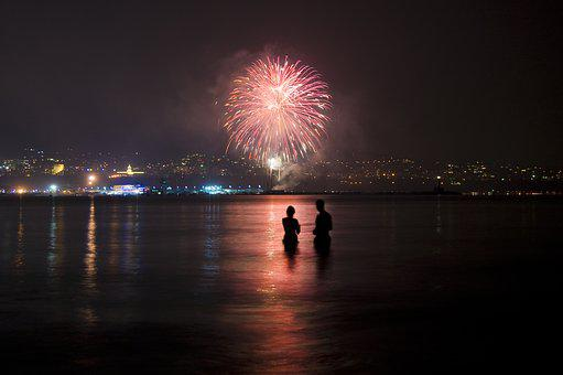 The Rise, Fireworks, Feerverki, Holiday, Party, Sea
