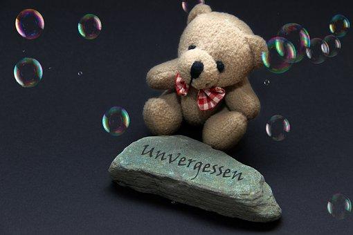 Mourning, Stone, Unforgotten, Love, Teddy, Soap Bubbles