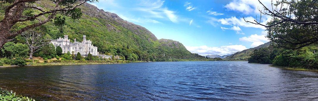 Ireland, Kylemore, Abbey, Water, Lake, Connemara
