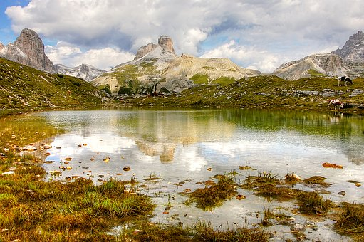 Zinnensee, Dolomites, Alm, Nature, Rubble Field, Lake