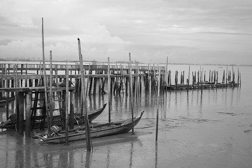Jeti, Boat, Sampan, Johor, Sea, Laut, Bot, Black, White