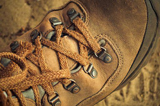 Hiking Shoes, Shoes, Hiking, Leather, Old, Outdoor