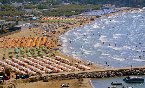 Beach, Umbrellas, Sea, Bathers, Summer, Waves, Peschici