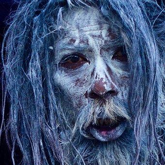 Portrait, Halloween, Zombie, Face, Vicious, Animal