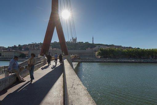 Lyon, Bridge, River, France, Architecture, Rhône, City
