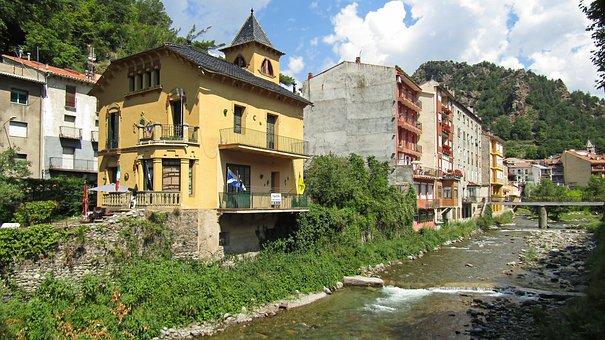 Ribes De Freser, Spain, City, Tourism, Urban, River