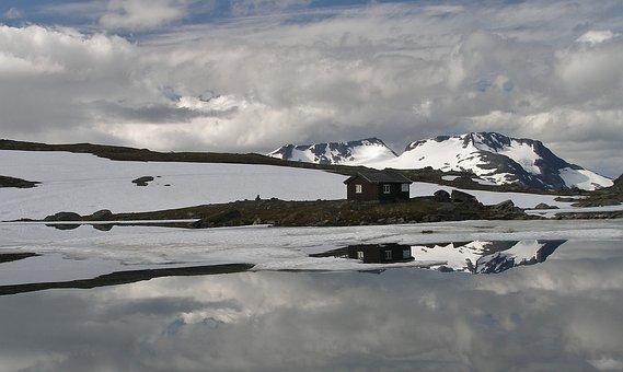 Mountain Lake, Reflection Water, Hut, Sognefjell
