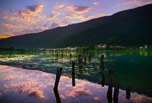 Sunset, Lake, Clouds, Mountains, Jetty, Reflection