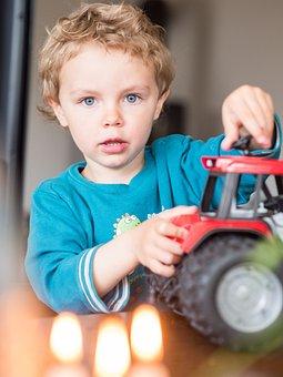 Celebration, Birthday, Tractor, Small Child