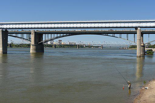 Novosibirsk, Bridges, River, Ob, Fisherman, Bridge