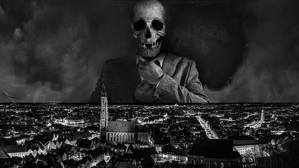 City, óbido, Night, Skull, Suit, Coming Home
