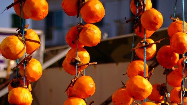 Persimmon, Dried Persimmon, Fruit, Autumn, In Autumn