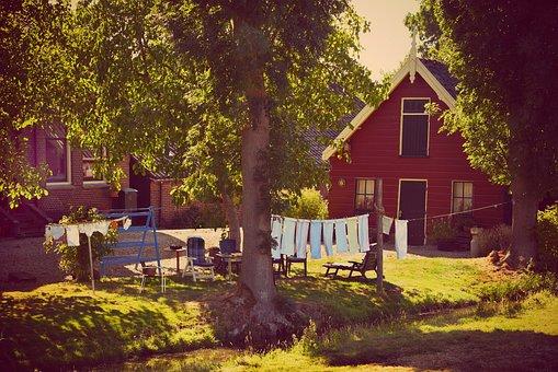 Farmhouse, Garden, Laundry, House, Farm, Clothes