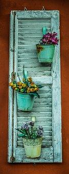 Shutter, Flower Pot, Flowers, Wall, Decorative