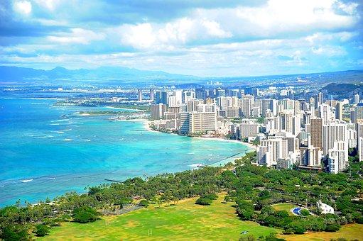 Hawaii, Honolulu, Waikiki, Diamond Head, Island
