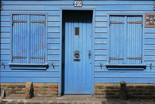 Blue, Facade, House, Wood, Former