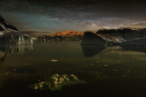 Starry Sky, Icebergs, Antarctica, Ice, Iceberg