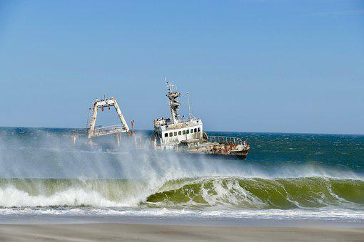 Ship Wreck, Sceleton Coast, Namibia, Sea, Beach, Coast