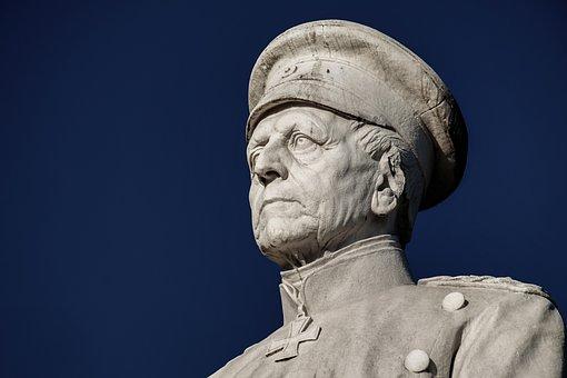 Monument, Moltke, Portrait, Sculpture, Man, Head, Face