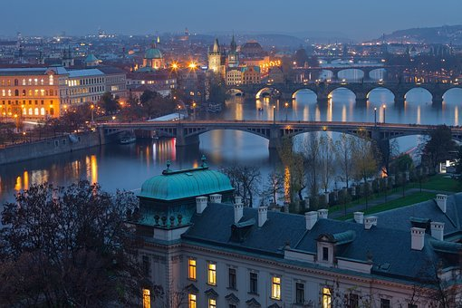 Prague, Czech Republic, Night, Lights, Panorama, City