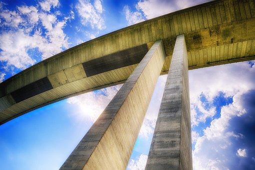Bridge, Pillar, Support, Sky, Clouds, Building