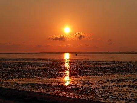 Sea, Watts, Beach, Sunset, Vacations, East Frisia