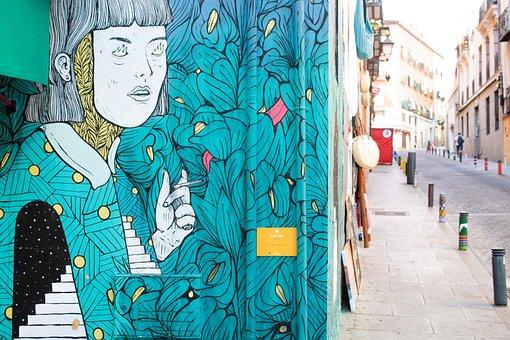 Lavapies, Madrid, Street, Art, Mural, City, Green, Girl