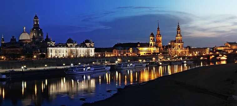 Dresden, Florence On The Elbe, City, Night