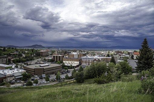 Clouds, Sky, Town, City, Landscape, Landscapes