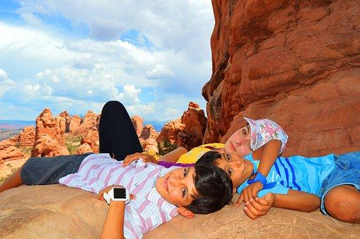 Arches National Park, Utah, Children, Usa, Moab