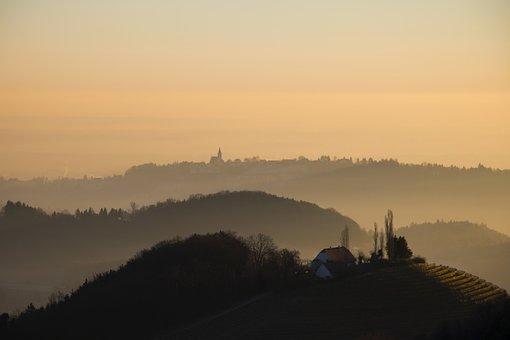 Landscape, Nature, Mood, Sunrise, Morning, Fog, Styria