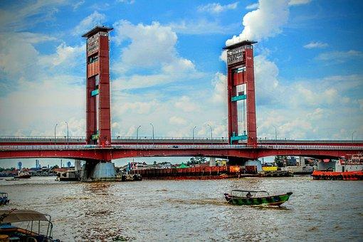 Bridge, Ampera, Palembang, Indonesian