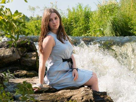 Girl, Waterfall, Woman, Landscape, Posing, Korak