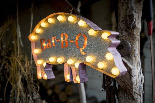 Bbq, Pig, Barbecue, Food, Bacon, Pork, Sign, Americana