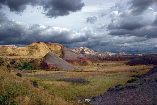 Stormy Badlands, Badlands, National, Landscape, Usa