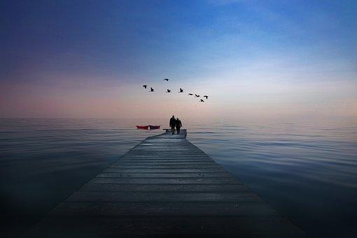 Lake, Boat, Waters, Couple, Nature, Blue, Sky, Mood