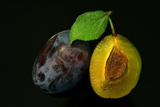 Plum, Close Up, Sliced, Fresh, Harvest, Blue, Fruit