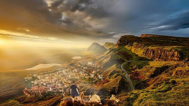 Landscape, Dog, Man, Climbing, Nature, Summer, Fantasy